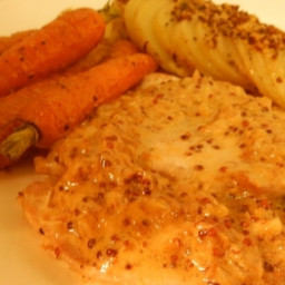 Pork Scaloppine with Mustard Pan Sauce and Baby Carrots