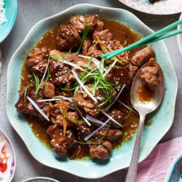 Pork shoulder braised in black vinegar and rice wine with pickled chillies