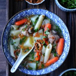 Pork sparerib soup with carrots and potatoes