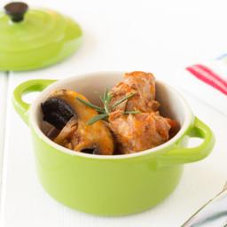 Pork stew with mushrooms and tomato sauce