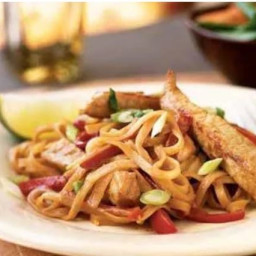 Pork Strips with Peanut Sauce and Rice Noodles
