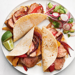 Pork Tacos with Onions and Peppers