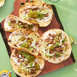 Pork Tacos with Sriracha Crema and Green Salsa