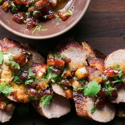 Pork Tenderloin with Date and Cilantro Relish