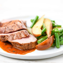 Pork Tenderloin with Roasted Pearswith green beans and garlic-thyme sauce