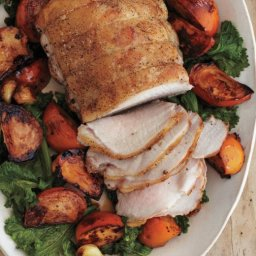 Pork with Persimmons and Mustard Greens