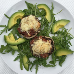 Portabella Mushrooms stuffed with Parma Ham and Manchego Cheese