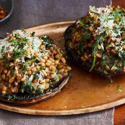 Portobello Mushrooms Stuffed with Barley Risotto
