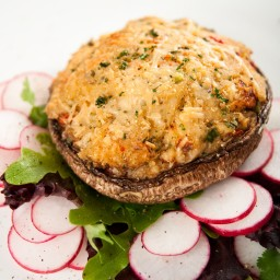 Portobello Mushrooms Stuffed with Eggplant And Gorgonzola