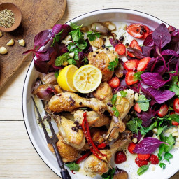 Pot-roasted chicken with strawberries and tarragon