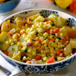 Potato and Corn Summer Salad with Oil-Free Mustard Vinaigrette