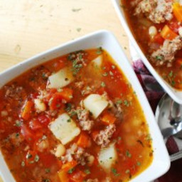 Potato and Sausage Soup (Gluten, dairy, egg, soy, peanut and tree nut free;