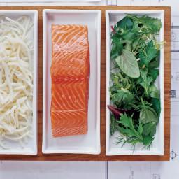 Potato-Crusted Salmon with Herb Salad