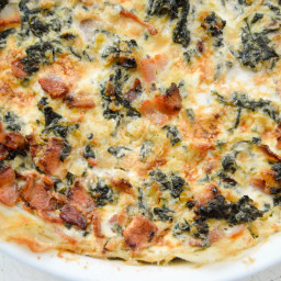 Potato crusted spinach and bacon quiche
