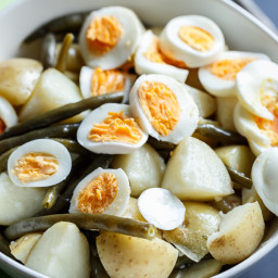 Potato, Egg and Green Bean Salad with a Garlic Infused Lemon Dressing