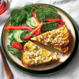 Potato Gratin Quiche and Spinach Salad