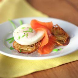 Potato Pancakes with Poached Eggs and amp; Smoked Salmon