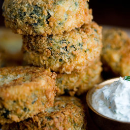 Potato, Salmon and Spinach Patties With Garlicky Dill Cream