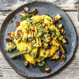 Powerhouse Eggplant Polenta with Zucchini and Walnut Salsa