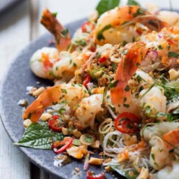 Prawn and vermicelli salad with coconut cream, kaffir lime and betel leaves
