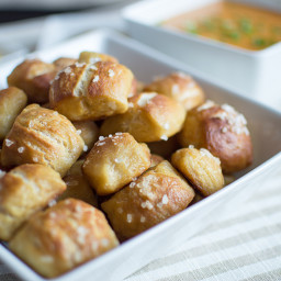 Pretzel Bites with a Warm Cheesy Dipping Sauce