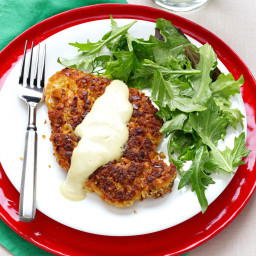 Pretzel-Crusted Chicken with Mixed Greens