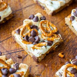 Pretzel S'mores Chocolate Chip Cookie Bars