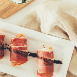 Prosciutto Wrapped Maple-Balsamic Sweet Potato Noodle Rolls