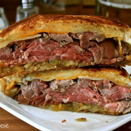 Pub-Style Steak Grilled Cheese with Beer-Braised Onions & Creamy Horse