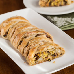 Puff Pastry Breakfast Braid with Eggs, Ham, Potatoes, Mushrooms, and Goat C