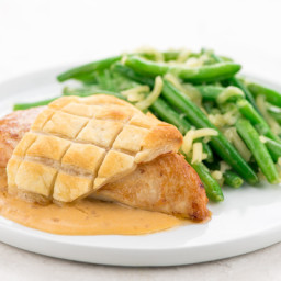 Puff Pastry Wrapped Chicken and Shallot Creamwith white cheddar green beans