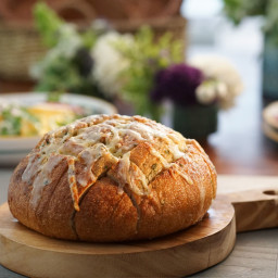 Pull-Apart Garlic Bread with Asiago Cheese