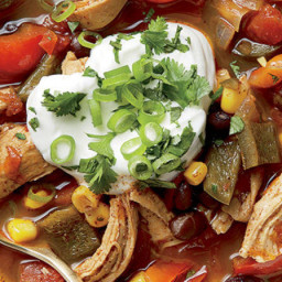 Pulled Chicken Ancho Chile and Black Bean Soup