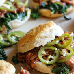 Pulled Pork and Kale Biscuit Sandwiches