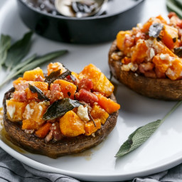 Pumpkin and Bacon Stuffed Portobellos with Brown Butter Sage