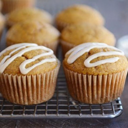 Pumpkin Applesauce Muffins with {Optional} Maple Cream Glaze