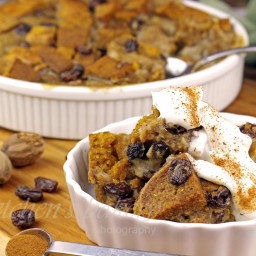 Pumpkin Bread Pudding with Spiced Whipped Cream