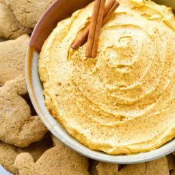 Pumpkin Cheesecake Dip with Turkey Gingersnaps