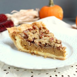 Pumpkin Cheesecake Pie with Pecan Streusel