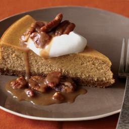 Pumpkin Cheesecake with Pecan Praline Topping