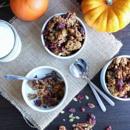Pumpkin Maple Pecan Granola with Cranberries