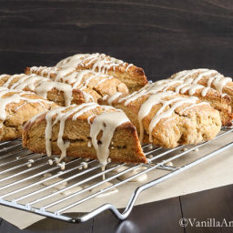 Pumpkin Scones with Candied Ginger and Maple Glaze