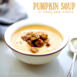 Pumpkin Soup w/ Crunchy Maple Croutons