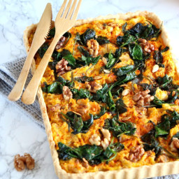 Pumpkin, Spinach and Goat Cheese Quiche