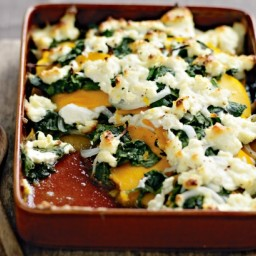 Pumpkin, spinach and ricotta gratin
