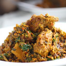 Pumpkin Seed 'Egusi' style Soup and Efo Igbo