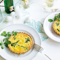 Purple sprouting broccoli and wensleydale tarts