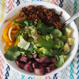 Purple Sweet Potato Taco Salad (Vegan or Paleo)