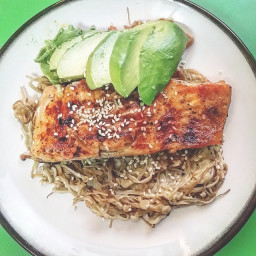 Quick and Easy Paleo Asian-Style Rainbow Trout Filet w Sesame Ginger Dressi