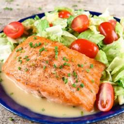 Quick-Braised Salmonwith miso-honey Caesar salad